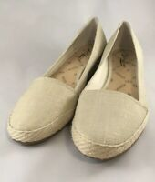 Lucky Brand Ivory and Gold Espadrille Wedge Slip On Sandals Size 9