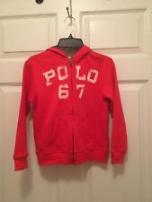 Nwt Boys Size 7 Polo Ralph Lauren Red Hooded Jacket