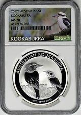 2017 Australia 1oz Silver Kookaburra PCGS MS70 One of first 2500 Struck