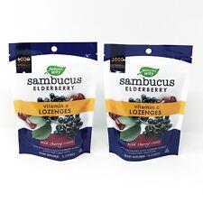 Nature's Way Sambucus Elderberry Wild Cherry Vitamin C Organic Lozenges 2 Packs