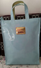 HARRODS MEDIUM GOLD LOGO PLATE SHOPPER Borsetta Blu