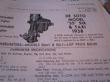 """ORIGINAL 1938 De Soto """"S5"""" SIX and Taxi  Carter Carbureter Specifications"""