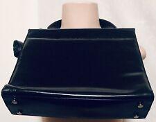 Salvatore Ferragamo Black Leather Logo Embossed Handbag Vintage 1990's