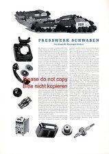 Presswerk Schwaben Plochingen Reklame & Historie 1956 Otto Single KG Kunststoff