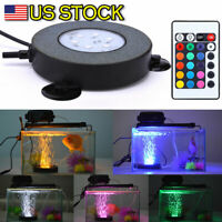 LED Aquarium Air Stone Disk Round Fish Tank Bubbler 16 Color Changing Underwater