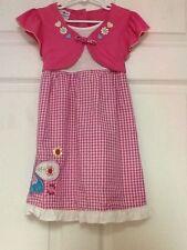 Kid Zone girls dress size 4 pink white checkered pattern new 90