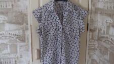 Next Blue Design Ladies Cotton Shirt Short Sleeve Size 16