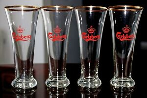 "AWESOME SET of 4 CARLSBERG BEER 6.75"" TALL GLASSES with GOLD TRIM from DENMARK"