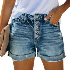 Womens Boyfriend Stretchy Denim Shorts Distress Fashion Jeans Ripped Hot Pants