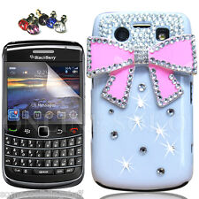 COOL BLING DESIGNER WHITE PINK BOW DIAMANTE CASE COVER FOR BLACKBERRY BOLD 9700