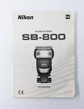 Nikon SB-800 handleiding / user guide / operating manual [NL Dutch]