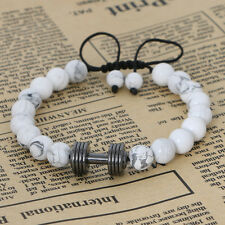 Men White Howlite Stone Bead with Rhodium Plated Dumbell Charm Macrame Bracelets