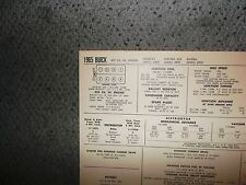 1965 Buick EIGHT Series Wildcat Electra Riviera Models 425 CI V8 Tune Up Chart