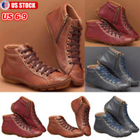 Women's Comfy Zipper Ankle Booties Arch Support Lace Up Casual Flat Shoes Boots