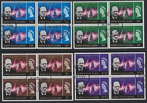 GILBERT & ELLICE IS 1966 Churchill set blocks of 4 fine used................H797