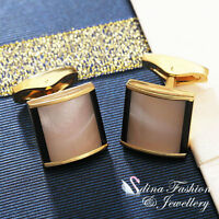 18K Yellow Gold Plated Simulated Opal Square Sapped Stylish Men's Cufflinks