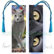 Russian Blue CAT Large BOOKMARK w/TASSEL Grey/Gray Eyes Art Book CARD figurine