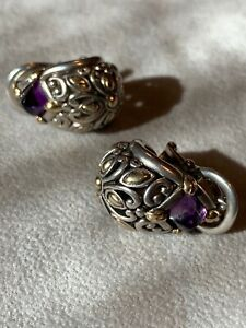 John Hardy Sterling Silver With 18k Gold Earrings With Amethyst Stones