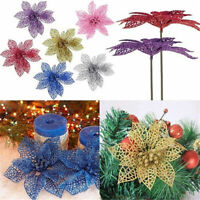 5/10Pcs Christmas Glitter Hollow Flowers Xmas Tree Decor Party Ornament Acces