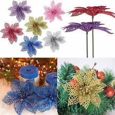 5/10Pcs Christmas Glitter Hollow Flowers Xmas Tree Decor Party Ornament Acces