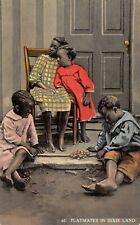 Vintage Postcard Black African American Boys Girls Kids Playing Dixieland