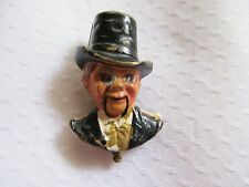 ANTIQUE 1930s CHARLIE McCARTHY FUR OR DRESS CLIP PIN,MECHANICAL (Ventriloquist )