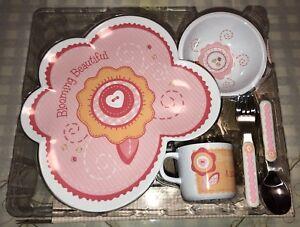 5 Piece Melamine Girl Dinner Set NIB Pink New Baby Shower Gift Tableware Cutlery