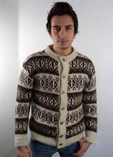 Vintage HOMME chunky laine norvégien Pull Cardigan Tricot Flocon de Neige Pull S