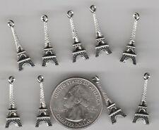 YUO GET 30  silver tone metal 3D Paris Eiffel Tower charms.  U.S.  SELLER - W6