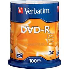 Verbatim DVD-R 16x 4.7GB Blank DVDs Media Disks 100 Spindle Pack