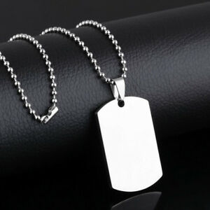 Mens Boy Silver Stainless Steel Necklace Military Army ID Dog Tag Pendant Chain