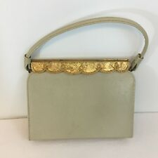 Vintage AFTER FIVE 1950-1960 Purse Evening Bag Gold Flap Top Rigid Handbag