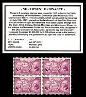1937 - NORTHWEST ORDINANCE -  Block of Four Vintage U.S. Postage Stamps
