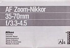 GENUINE ORIGINAL NIKON LENS INSTRUCTION MANUAL AF ZOOM NIKKOR 35-70mm F/3.3-4.5