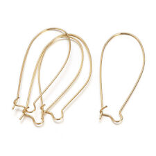 50pcs Gold Tone Brass Kidney Earwire Hoop Earring Findings Lead Free Craft 43mm