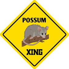 "*Aluminum* Possum Crossing Funny Metal Novelty Sign 12""x12"""