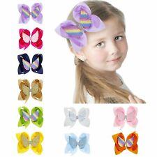 "10 Pcs Baby Girls Kids 6"" Grosgrain Ribbon Boutique Hair Bows Alligator Clips"