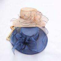 CW_ Lady Wide Brim Flower Sun Hat Women Wedding Tea Party Church Travel Cap