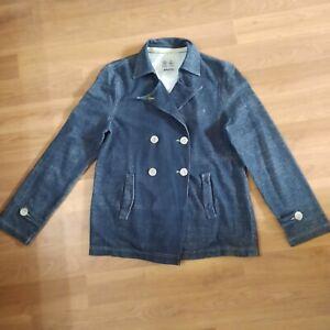 MUSTO jacket summer casual lightweight denim look size large blue 14/16