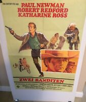 """BUTCH CASSIDY & THE SUNDANCE KID"" RARE ORIG. 1969  GERMAN MOVIE THEATER POSTER!"