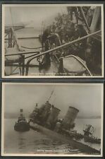 MARITIME WW1 1919 SINKING GERMAN SHIPS at .SCAPA ..Burrows...14 OFFICIAL PHOTOS
