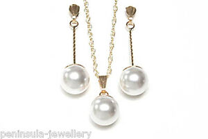 9ct Gold Pearl Pendant Necklace and Earring Set Gift Boxed Made in UK