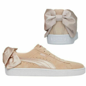 Puma Suede Bow Valentine Lace Up Womens Leather Trainer Cream Tan 367609 01 B17B