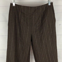 Talbots Petite Womens 4P Stretch Brown Striped Wool Mid Rise Dress Career Pants
