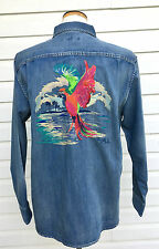 TOMMY BAHAMA EMBROIDERED DENIM SHIRT $158 SNAP 24 PARROT GOLD HEAD BUFFET 2XL