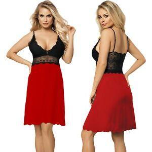 Nachthemd CINDY Viskose Damen Nachtkleid Nachtwäsche Negligee DKaren Spitze Rot