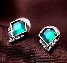 """Thompson Luxury """"Ranja"""" Stud-Ohrringe Grün Kristall Antik-Gold plated UVP 9,90€"""
