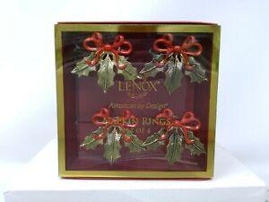 Set of 4 Lenox Gold Holiday Ribbon Metal Napkin Rings - NIB
