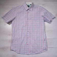 Mens HUGO BOSS White Checked Short Sleeved Designer Shirt Small #E2043