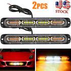 2x Amber White 24 Led Car Truck Emergency Warning Hazard Flash Strobe Light Bar